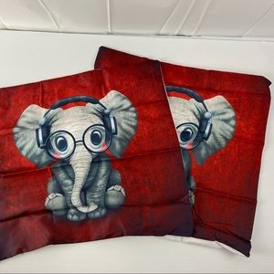 2x Red Cute Baby Elephant Square Cushion Cover